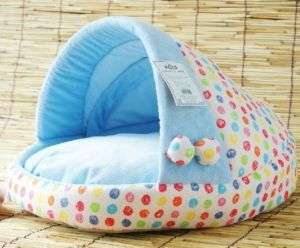 Pretty Blue Soft Pet Dog Cat Bed House Medium 50x48x30