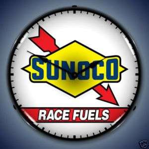 NEW SUNOCO RACE FUEL GAS OIL ADV BACKLIT LIGHTED CLOCK