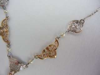 Antique Art Deco White Gold Diamond Filigree Necklace