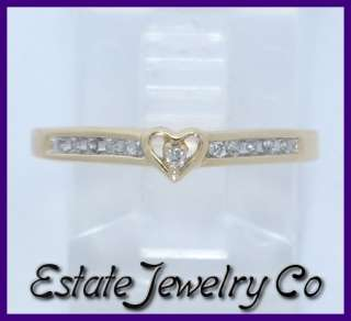 14k Yellow Gold Round Diamond Love Heart Ring .11ct