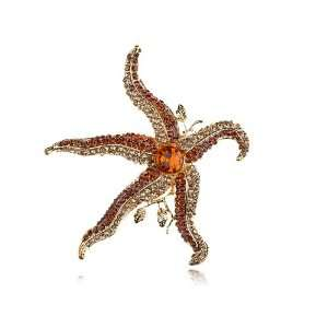 Red Crystal Rhinestone Gold Tone Ocean Starfish Star Design Pin Brooch