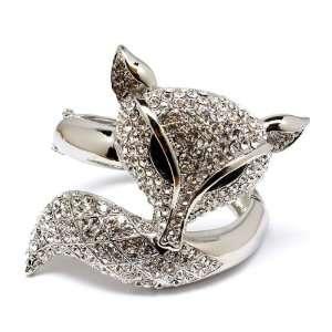 ANIMAL JEWELRY   Clear Crystal Fox Bangle Bracelet Jewelry