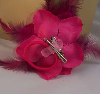 ROSE FLOWER FEATHER HAIR Clip Ponytail Holder Brooch Pin 4 1/2