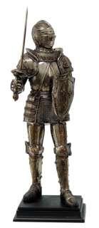 MEDIEVAL KNIGHT WARRIOR ARMORED w/ HELMET SWORD SHEILD FIGURINE STATUE