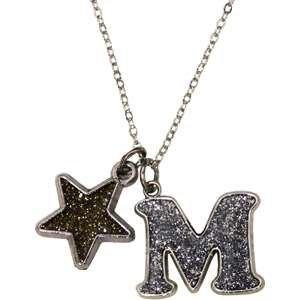 Silver Tone Initial M Pendant Personalized Gifts