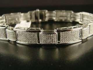 MENS WHITE GOLD FINISH PAVE DIAMOND BRACELET 5.00 CT