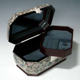 Pearl Octagonal Lacquer Wood Jewelry Treasure Trinket Box Chest