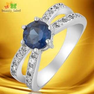 Sapphire White 18k Gold GP Party Ring Lady Fashion Jewelry Size 6/M