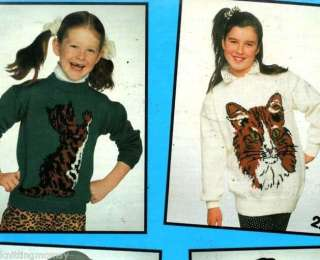 Knitting Pattern Childs Adult Cats Sweater   4 Designs
