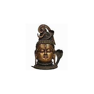 BRASS SHIVA HEAD ANTIQUED HINDU GOD GANESH BRS2007: Home