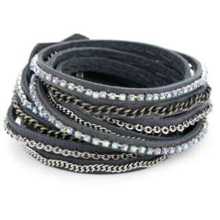 Presh Black Diamond Rhinestone Multi Chain Grey Leather Wrap Bracelet