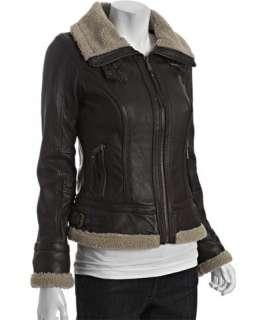 MICHAEL Michael Kors brown leather faux fur trim aviator jacket