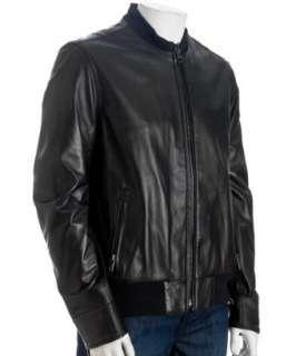 Andrew Marc black leather varsity jacket