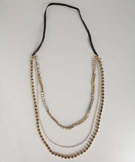 Chan Luu gold crystal multi strand chain necklace