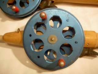 TEHO old Vintage fishing ICE ROD POLE LOT OF 2 4 Lure jig reel bait
