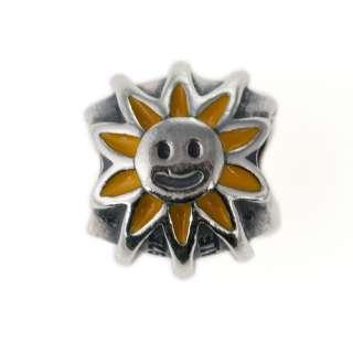 Genuine Pandora Sterling Silver Smiling Sunshine Yellow Enamel Charm