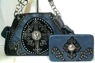 WESTERN BLUE RHINESTONE CROSS PURSE HANDBAG + MATCHING FLAT WALLET SET