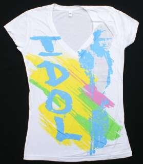 BILLY IDOL Ladies Juniors T Shirt White Rock & Roll Music NWOT