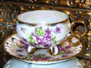 Royal Sealy 3 RING FOOTED Teacup VIOLETS IRIDESCENT Tea Cup and Saucer