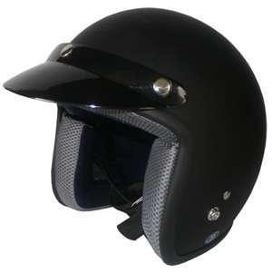 Motorcycle Helmet Open Face Vintage DOT 301 flat black