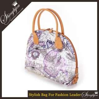 Fashion World Map Bag Womens Handbag Tote Shoulder Bag Purse