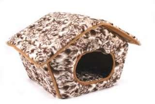 PET DOG CAT TENT HOUSE BED BROWN WHITE PRINTS FUR PLUSH DESIGN MACHINE