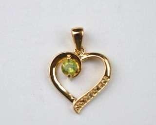 New 18K Gold Over Silver Peridot Diamond Heart Pendant