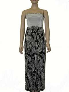 NWOT Womens Floral Maxi Tube Top Strapless Dress Black and White S, M