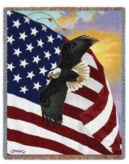 PATRIOTIC AMERICAN FLAG EAGLE TAPESTRY THROW BLANKET