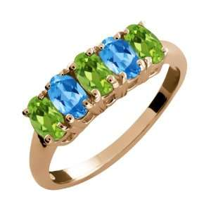 Ct Oval Green Peridot and Swiss Blue Topaz 14k Rose Gold Ring Jewelry