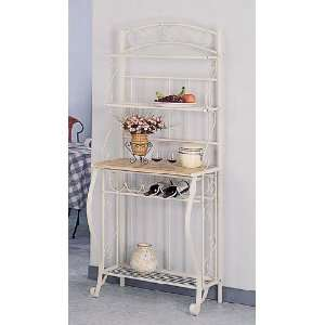 Tier Ivory White Finish Metal Bakers Rack w/Wine Rack Home & Kitchen